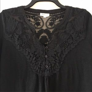Anthropologie Meadow Rue Black Lace Blouse